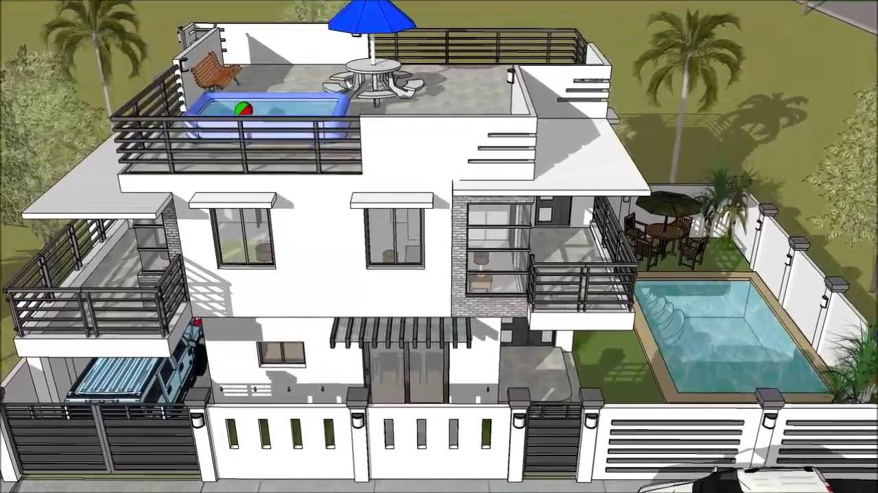attic floor deck ideas - Modern 2 Storey House with Roofdeck & Swimming Pool