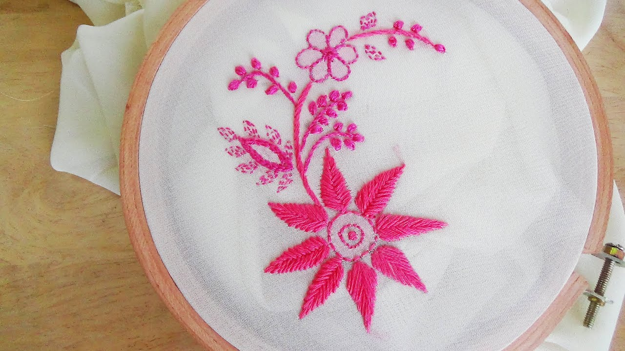 Hand Embroidery Chicken Kari Embroidery - YouTube