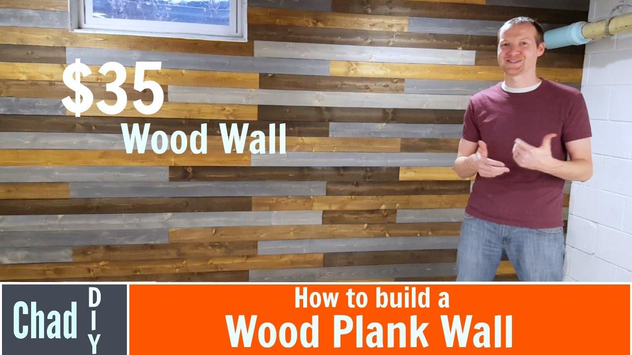 Fantastic $35 DIY Wood Plank Wall - YouTube EZ54