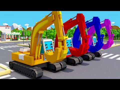 Trucks Cars Cartoon for Children - Learn Colors With Surprise Activity Tractor & Excavators for Kid