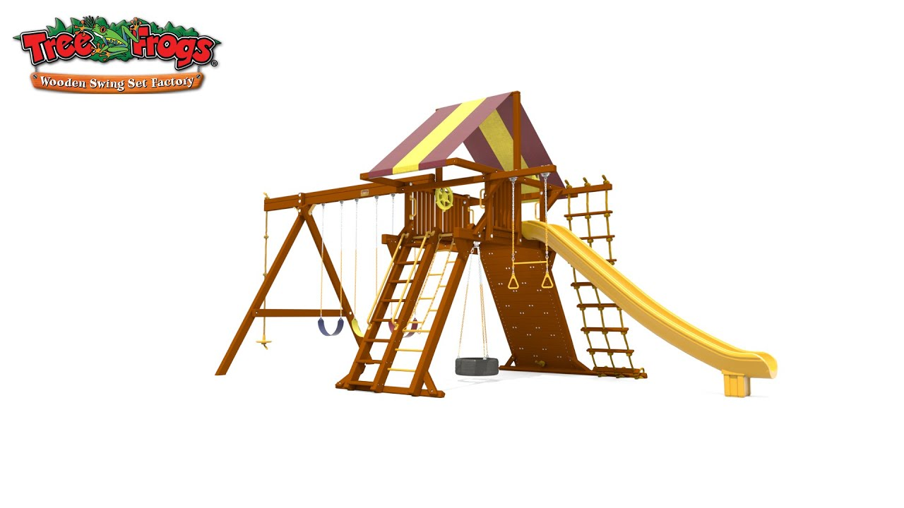 Tree Frogs Wooden Swing Set Factory 7 4 Jaguar Playcenter With