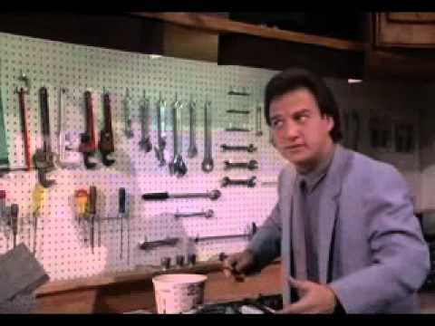 Real Men (1987) -- Belushi with a Makeshift Nail Rifle
