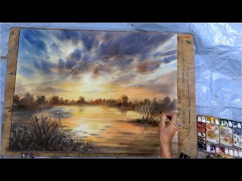 watercolor tutorrial how to paint a cloudy sunset