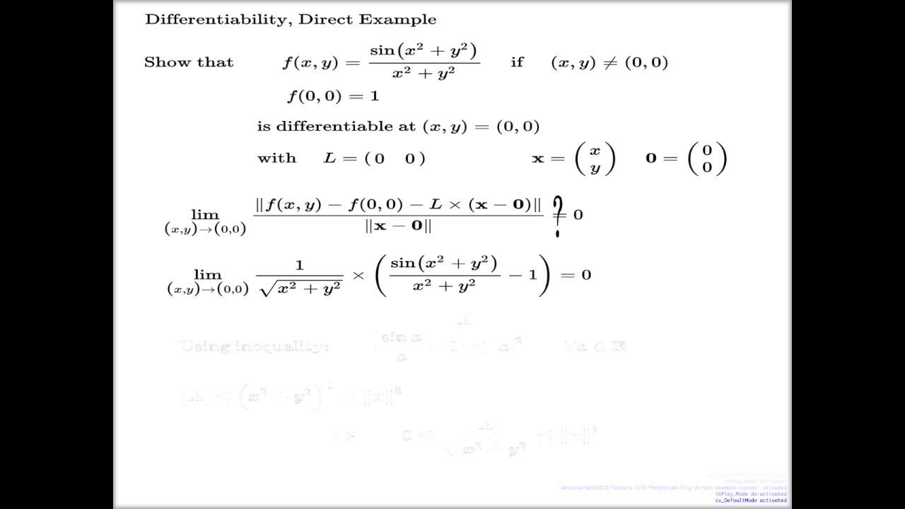 Differentiability of function of two variables -- Direct argument