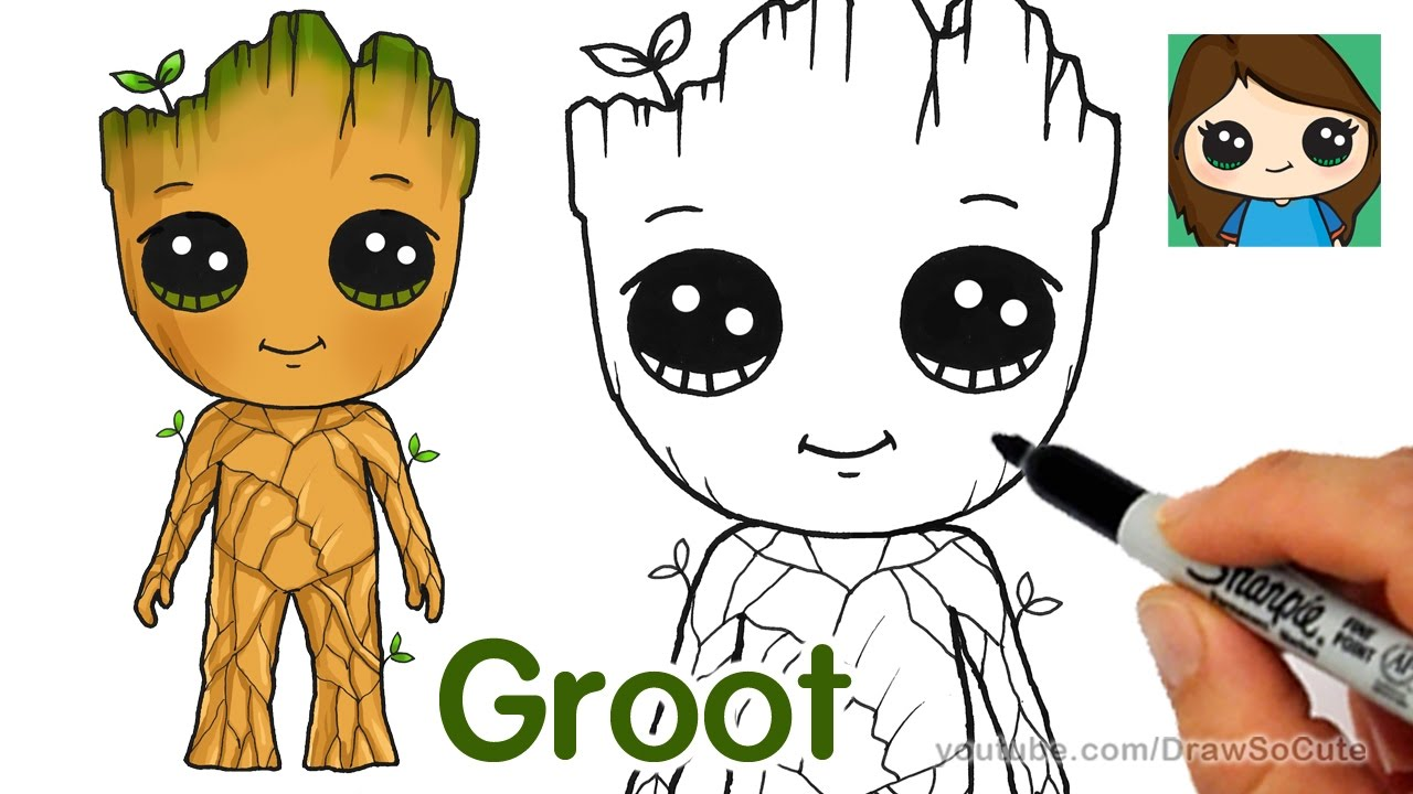 How To Draw Groot Easy Guardians Of The Galaxy Youtube