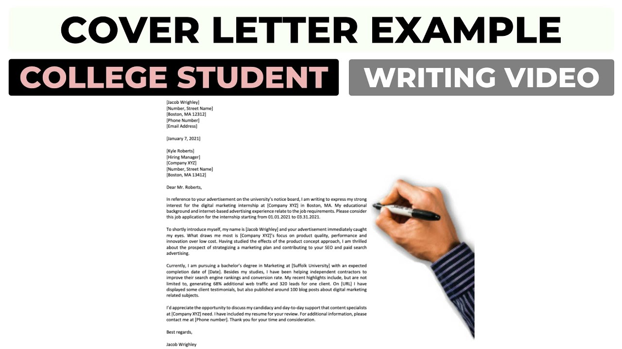 Cover Letter Example For College Student 2021 Youtube