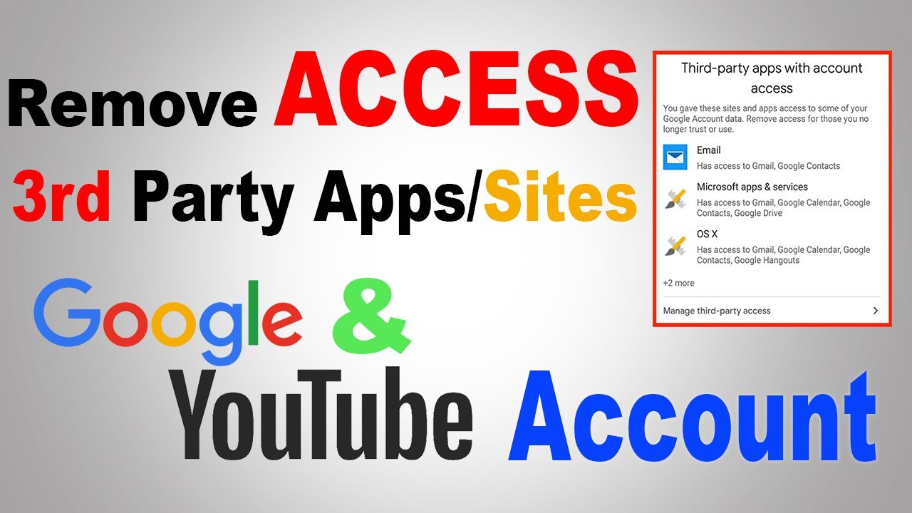 Remove Third Party Apps Sites Access From Youtube And Google Account Youtube