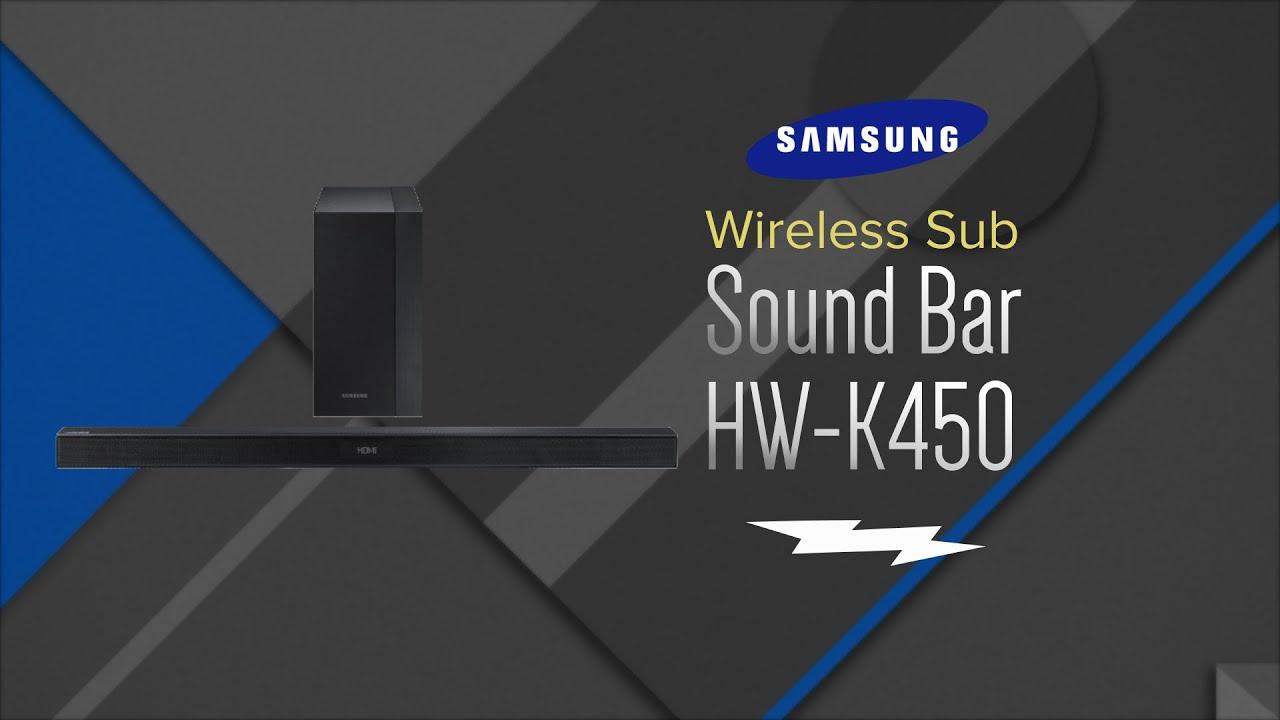 unboxing samsung black 2 1 channel sound bar with wireless subwoofer hw k450 za youtube. Black Bedroom Furniture Sets. Home Design Ideas