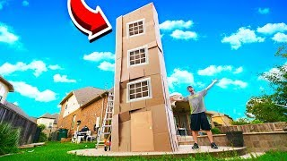 4 STORY MEGA MANSION BOX FORT! 50FT TALL!