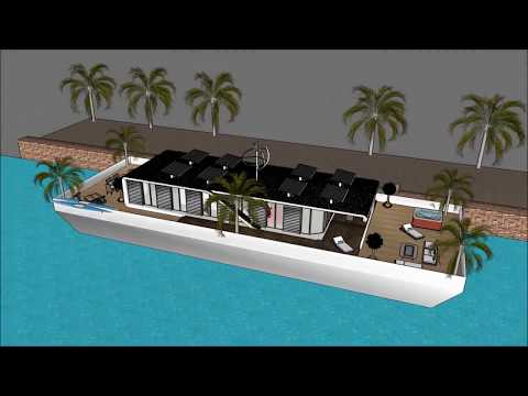 Grand designs houseboat floating houses in Scotland Glasgow on water with barge platform and modern