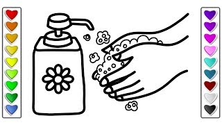 How to Draw wash your Hands l Drawing and Coloring Pages Learn Colors for Kids