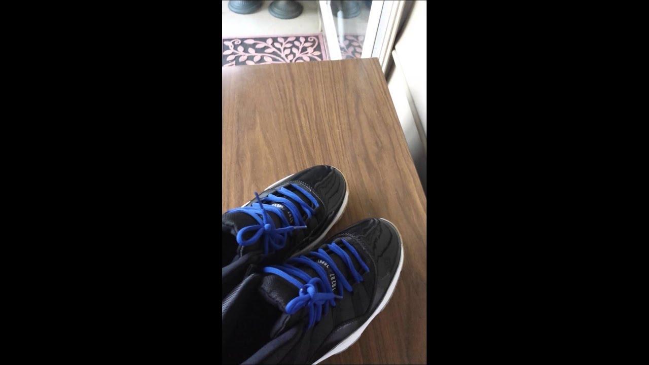 f0ed9a3939e9f2 Blue laces on the Jordan 11 space jams - YouTube