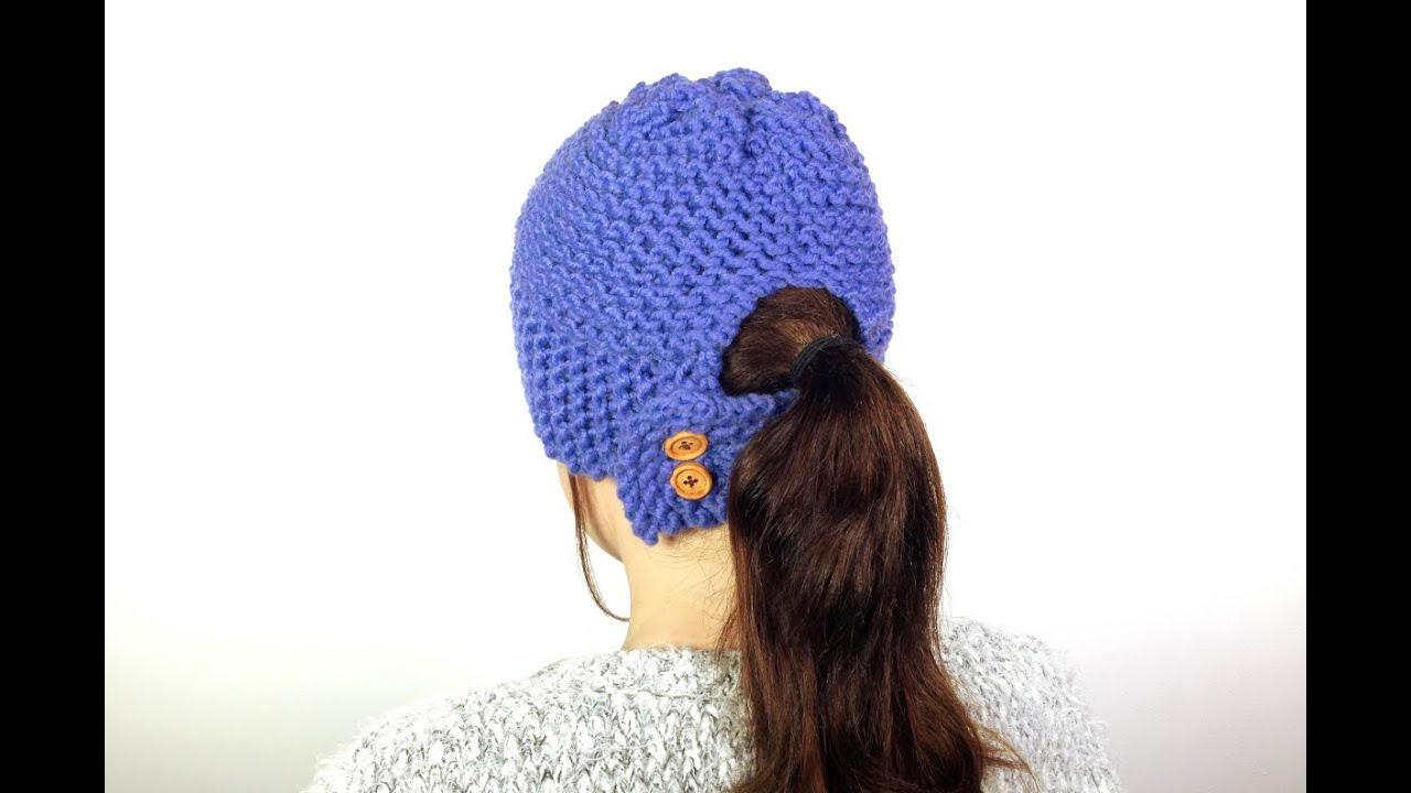 Knit Hat Pattern Ponytail Hole : How to Loom Knit a Ponytail Hat (DIY Tutorial) - YouTube