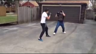 Friends Boxing with gloves