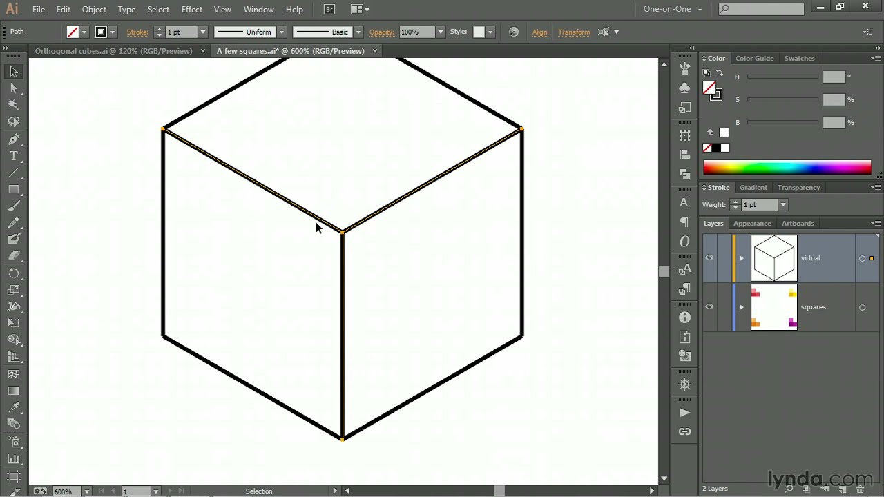 Drawing Lines In Photo Cs : Illustrator tutorial drawing an orthogonal cube with the