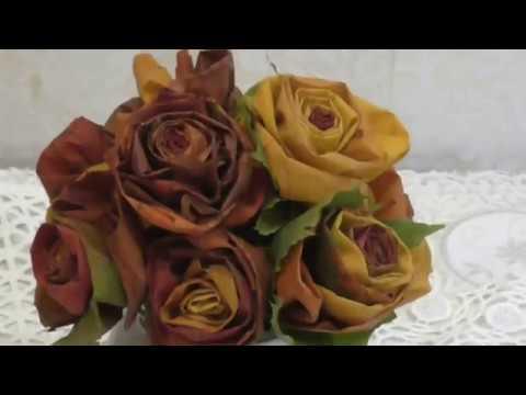 Как делать цветы из листьев
