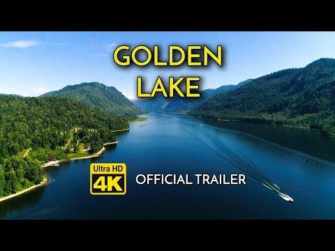GOLDEN LAKE ★ 4K Nature ✈Drone Footage (Trailer) w/ Relax Music ➽ Meditate,Yoga,Sleep,Spa