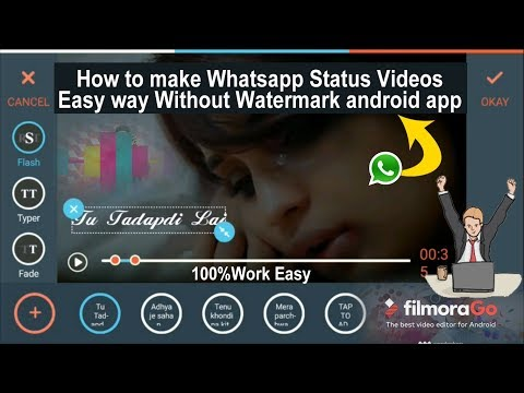 How to make whatsapp status Lyrics Videos || Best easy Way || Without Watermark android app ||