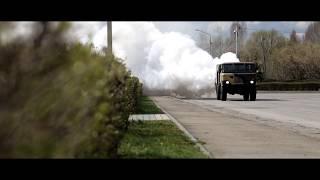 В Липецке опробовали дезинфекцию улиц с применением спецтехники