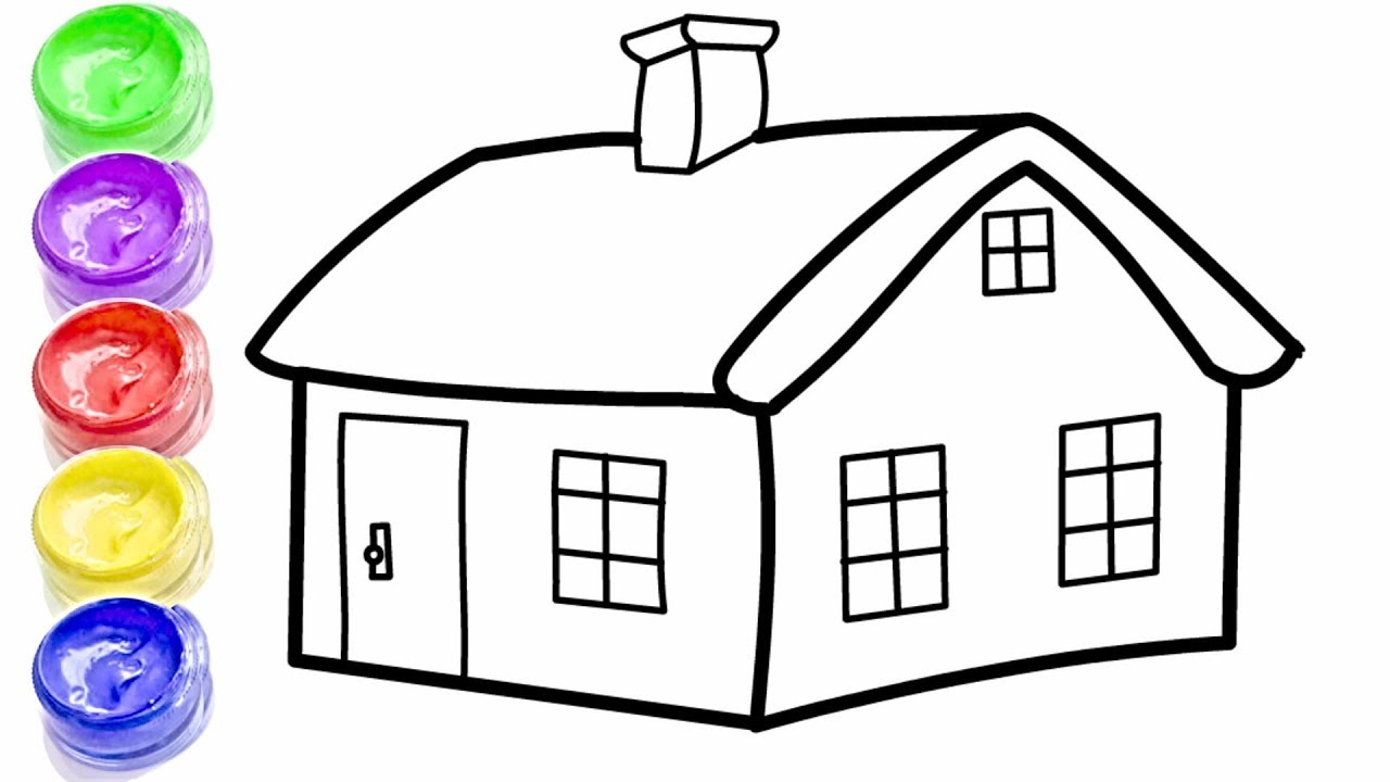 GLITTER HOUSE   HOW TO DRAW CARTOON HOUSE   LEARN COLOR ...