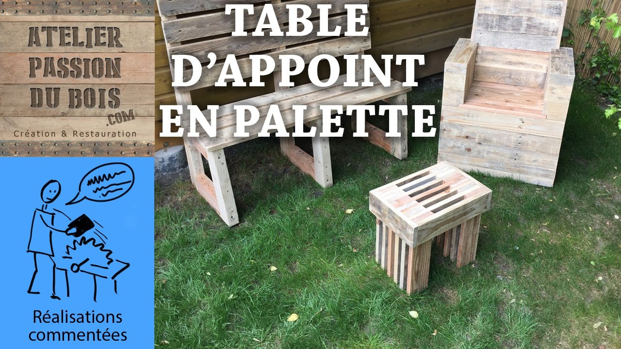 realiser un salon de jardin en palette une petite table youtube. Black Bedroom Furniture Sets. Home Design Ideas