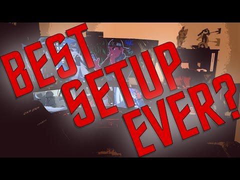 FINISHED ROOM TOUR   MY 6 SCREEN DUAL-PC BUILD SETUP (w/ Bonus Gun Rack)