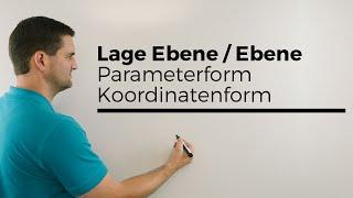 Lage Ebene, Ebene, Parameterform und Koordinatenform 1, Analytische Geometrie