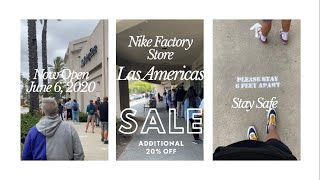 vendedor Tubería Óptima  Las Americas Nike Factory Store Opening Weekend June 5-7, 2020 NOW OPEN!  20% OFF Entire Purch SALE! - YouTube