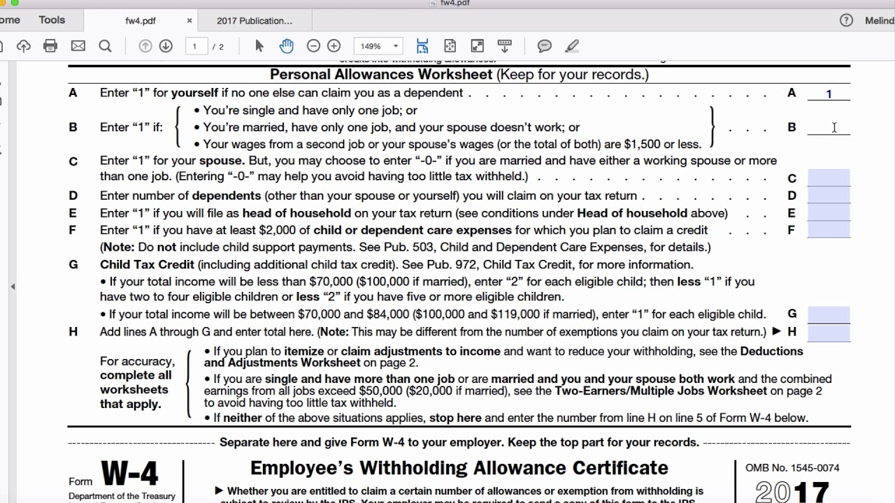 worksheet W 4 Personal Allowances Worksheet how to complete form w 4 tutorial youtube tutorial