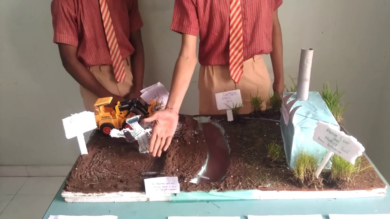 hight resolution of science project working model of soil pollution