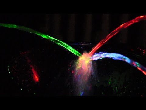 Homemade Nebula Fountain Emits Color RGB Lights from Three Colliding Water Jets