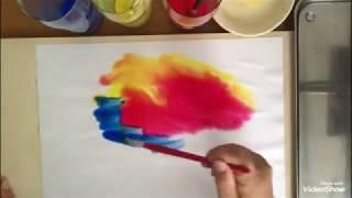シュタイナー教育の『濡らし絵』です。色と色を重ね合わせ 安らぐ色を見...