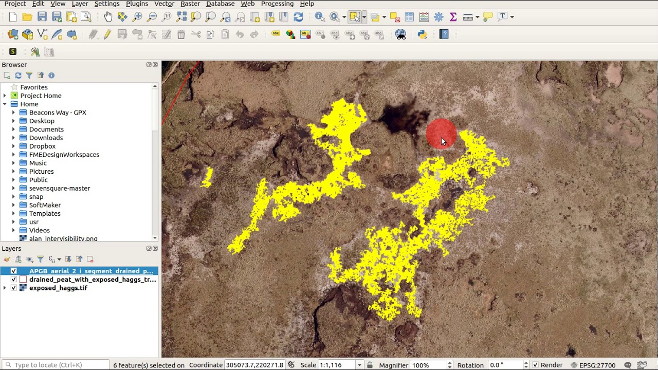 Selecting and extracting subtle landscape changes to a shapefile using  Grass GIS and QGIS