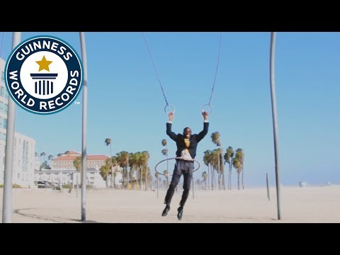 Longest distance swinging on rings while hula hooping – Guinness World Records