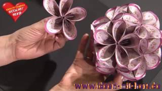 Repeat youtube video Ideen mit Herz - Fleurogami - Blütenkugel mit ovalen Faltpapieren