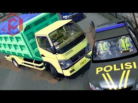 ✅ INSIDEN DUMP TRUCK NYELONONG HANTAM MOBIL POLISI DI MOJOKERTO