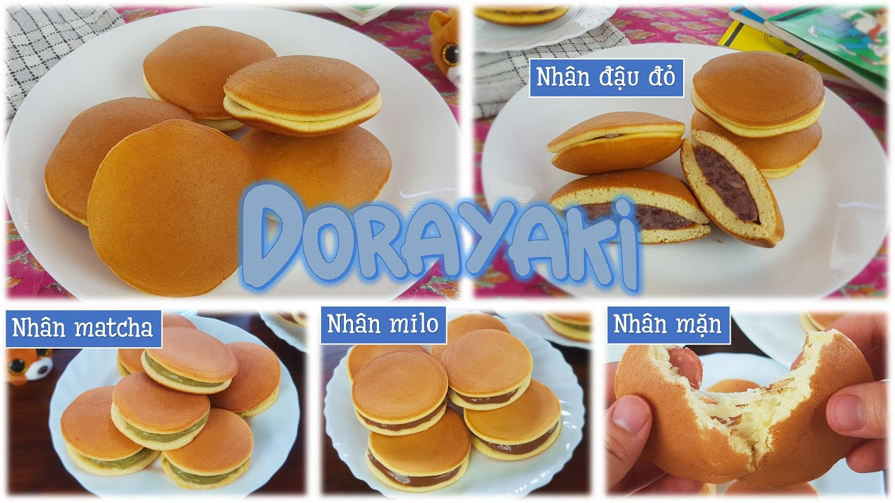 Cách làm bánh rán Doraemon Dorayaki | 2 công thức vỏ bánh siêu mềm không dùng máy, và các loại nhân