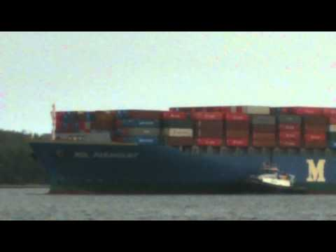Largest Container Ship - MOL Paramount Entering Halifax Harbour