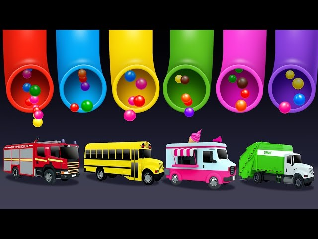 Learning Colors and Street Vehicles Names and Sounds for Kids with Lot of 3D Candy Surprise Eggs
