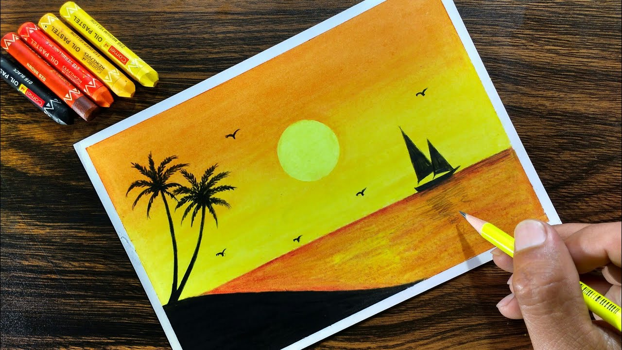 Sunset Scenery With Oil Pastel For Beginners Step By