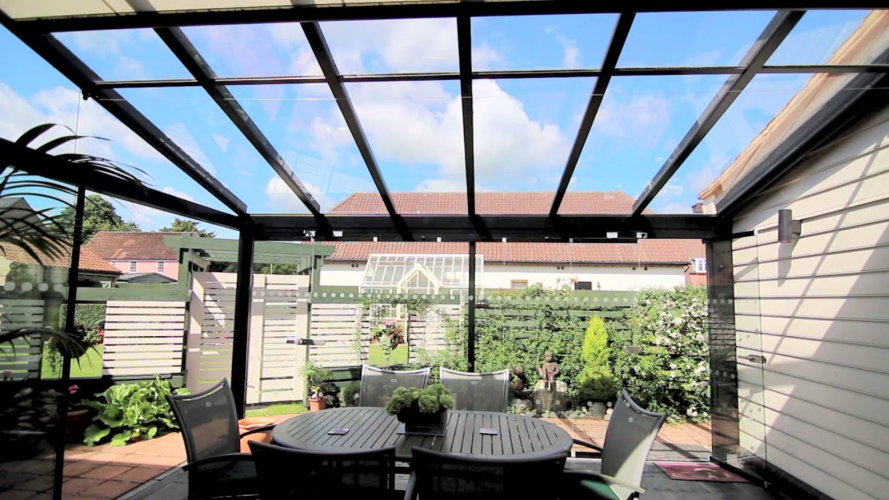 Solarlux atrium with sl20 sl25 inc motorised awning for Where to buy atrium windows