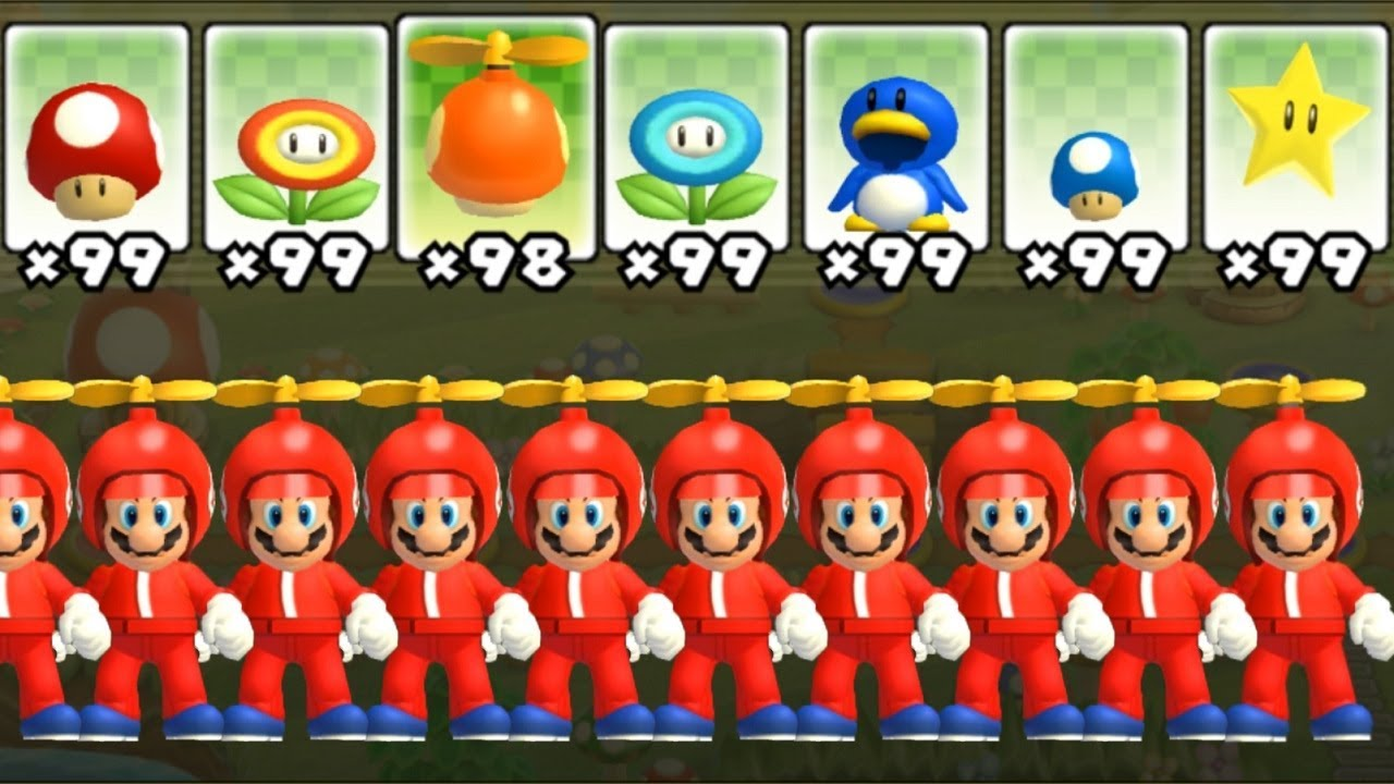 New Super Mario Bros Wii All Power Ups With Multiple Marios