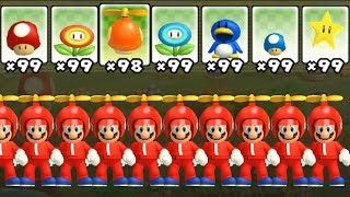 New Super Mario Bros Wii - All Power-Ups with Multiple Marios