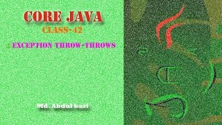 Core Java- Bangla Tutorial(Exception throw-throws)- Class 42