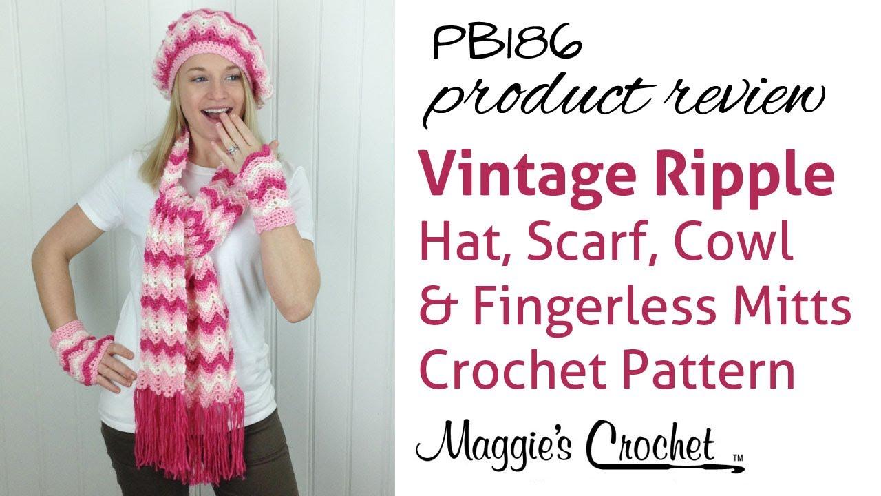 Vintage Ripple Hat, Scarf, Cowl & Fingerless Mittens Crochet Pattern ...