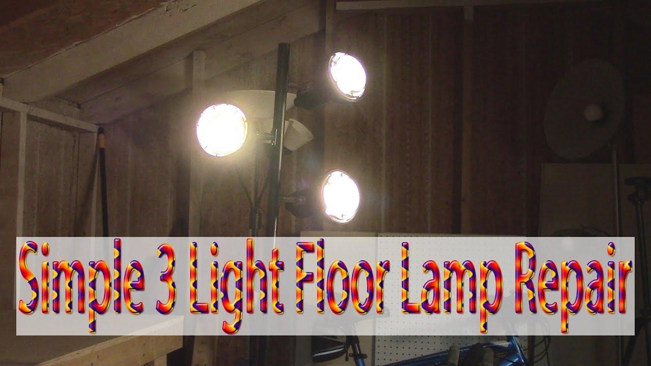 3 light floor lamp repair