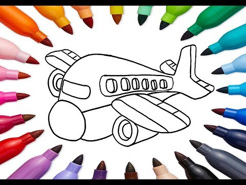 plane Toy coloring and drawing for Kids, Toddlers | Learn Draw, Paint & Color | Kids Art Studio