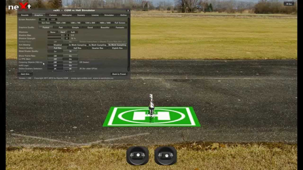 neXt rc helicopter simulator graphic display setting for best image quality - YouTube
