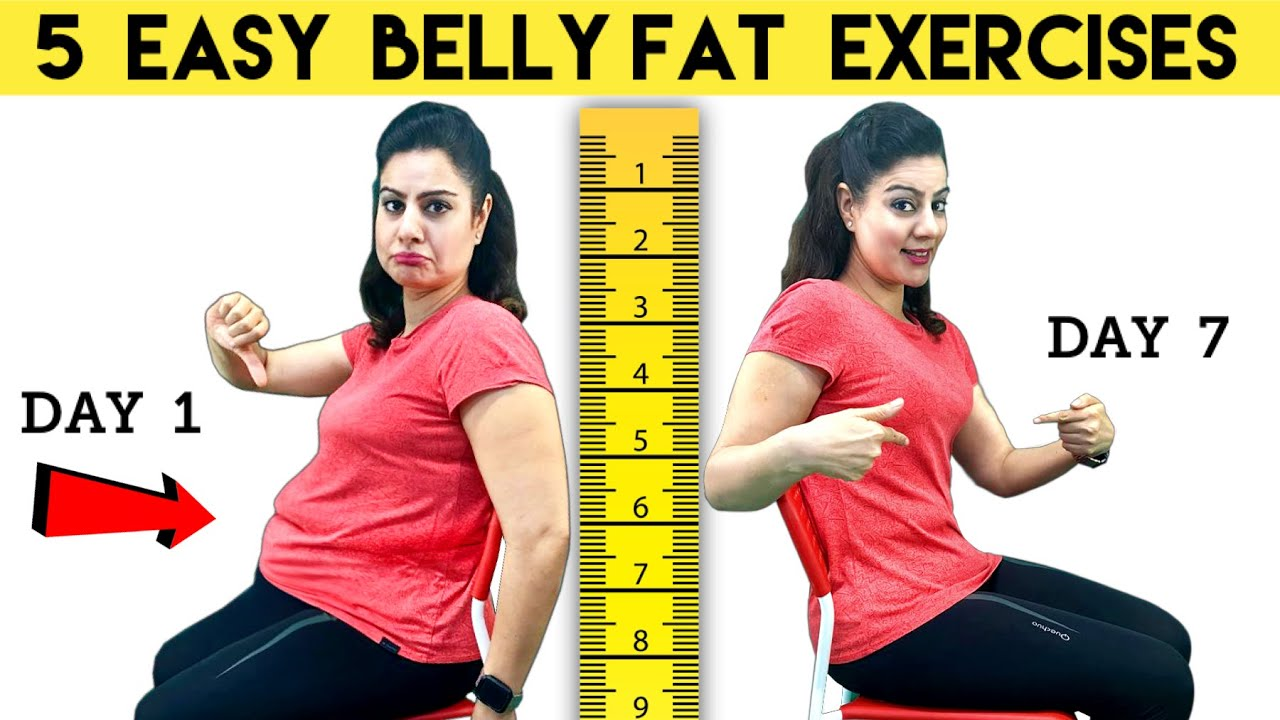 5 Belly Fat Exercises For Beginners  |  How To Lose Belly Fat in 1 Week at Home in Hindi