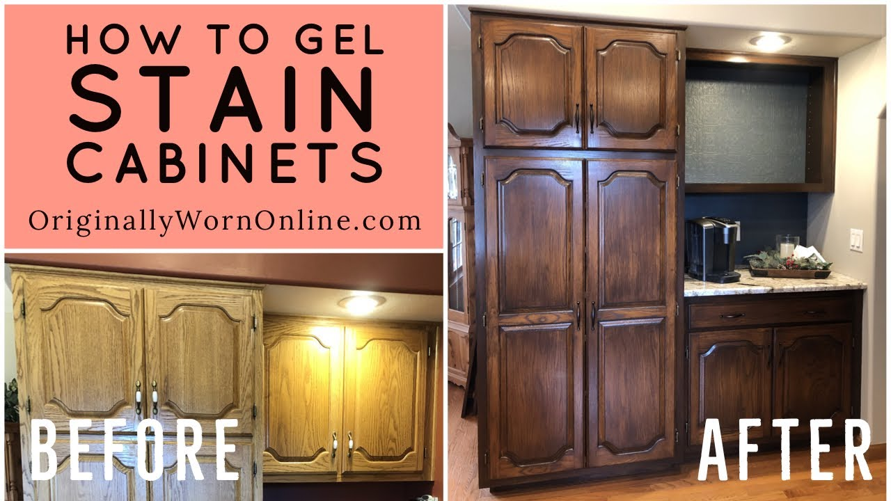 Kitchen Cabinet Stain Before And After How To Gel Stain Cabinets   YouTube
